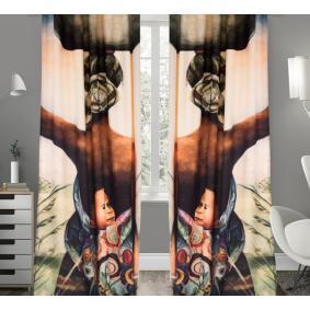 Kozzy Home  RFE148  Saten Baskılı Tek Kanat Fon Perde - 135x270 cm