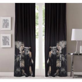 Kozzy Home  RFE163  Saten Baskılı Aslan Desenli Fon Perde Tek Kanat Fon Perde - 135x270 cm