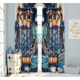 Kozzy Home  RFE172  Saten Baskılı Baykuş Motifli Tek Kanat Fon Perde - 135x270 cm